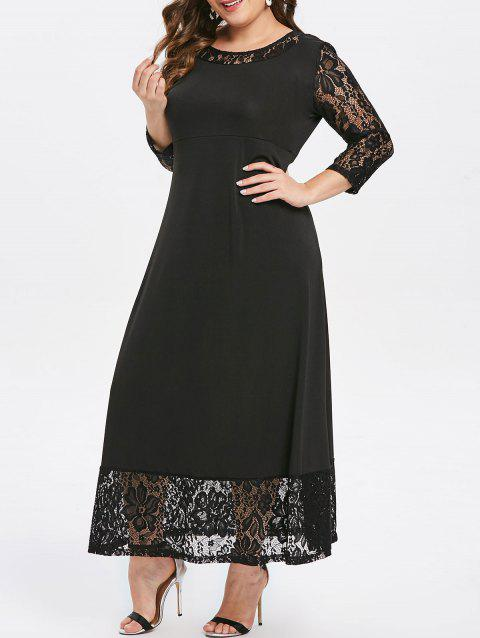 Plus Size Lace Hem Maxi Dress - BLACK 2X