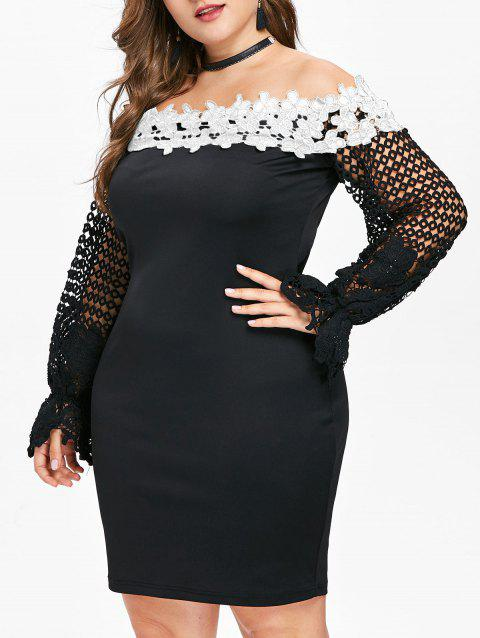 Lace Sleeve Plus Size Applique Bodycon Dress - WHITE L