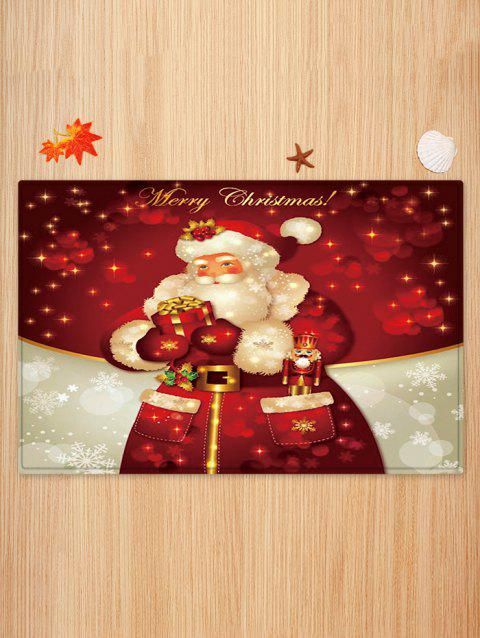 Father Christmas Snowflake Gift Printed Floor Mat - RED WINE W20 X L31.5 INCH