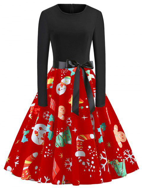 Plus Size Long Sleeves Christmas Vintage Printed Dress - RED 1X