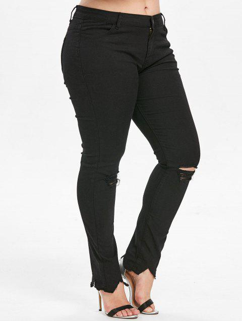 Plus Size Ripped Frayed Jeans - BLACK L