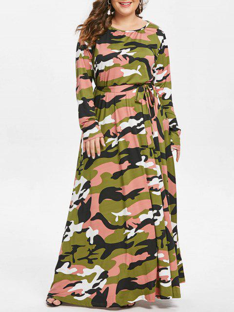 Plus Size Round Neck Camouflage Print Maxi Dress - CAMOUFLAGE GREEN 2X