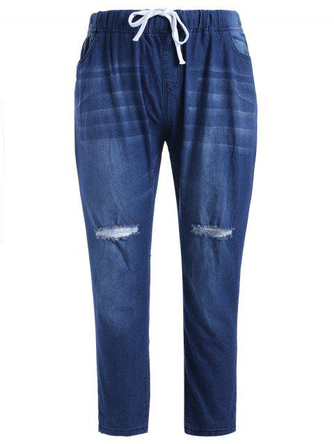 e25befe913e 2019 Plus Size Ripped Jeans with Drawstring In BLUE IVY 1X ...