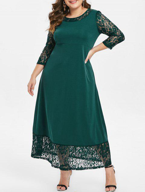 Plus Size Lace Hem Maxi Dress - GREEN 2X
