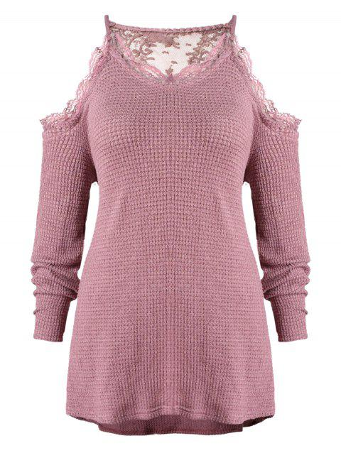 Plus Size Lace Insert Cold Shoulder Knitwear - ROSE 3X