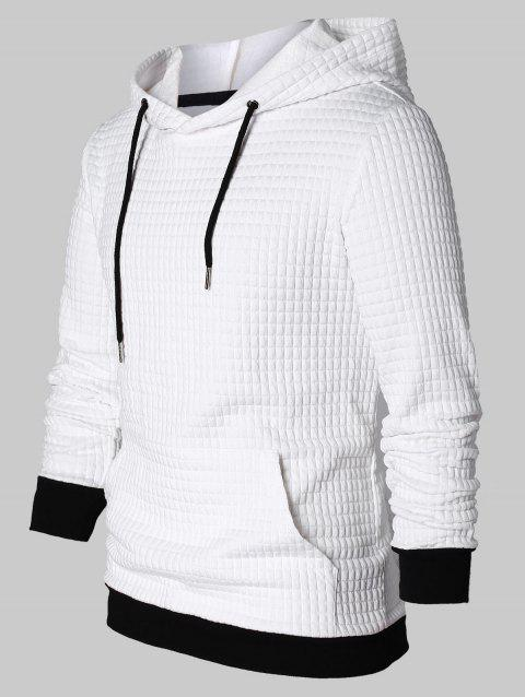 Drawstring Contrast Color Pullover Hoodie - WHITE 2XL
