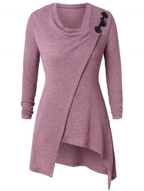 Plus Size Wrap High Low Sweater - PALE VIOLET RED L