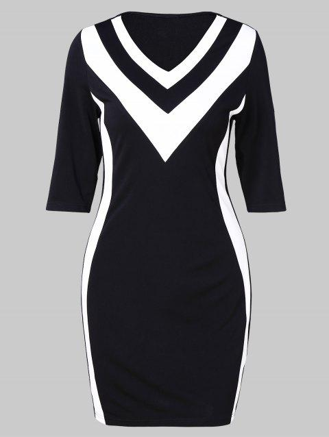 Zig Zag Two Tone Half Sleeve Bodycon Dress - BLACK XL