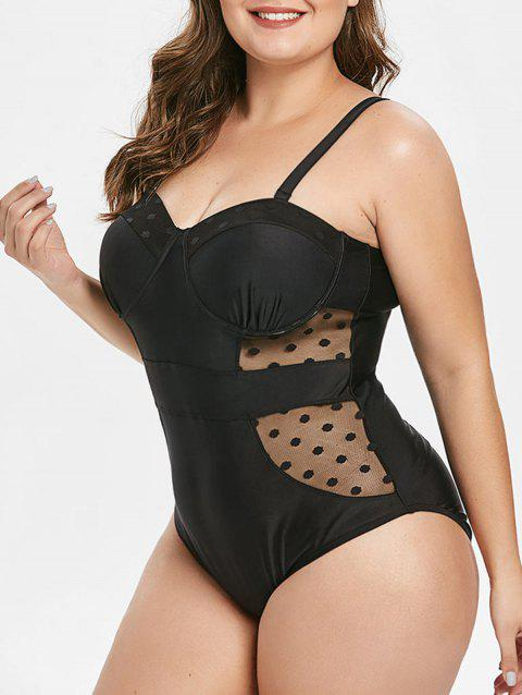 Plus Size Padded One-piece Swimsuit with Mesh - BLACK 3X