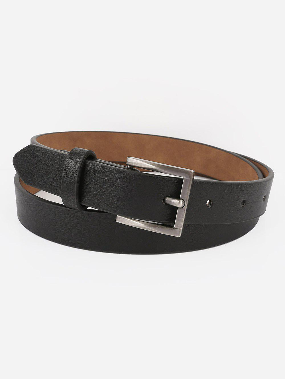 Statement Metal Buckle Artificial Leather Belt - BLACK