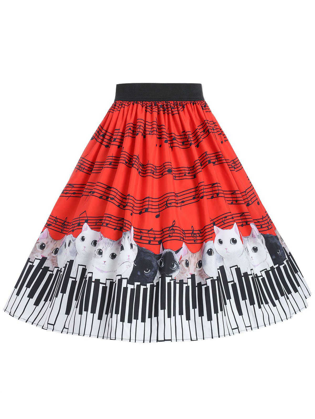 Plus Size Cat and Musical Note Skirt - RED L