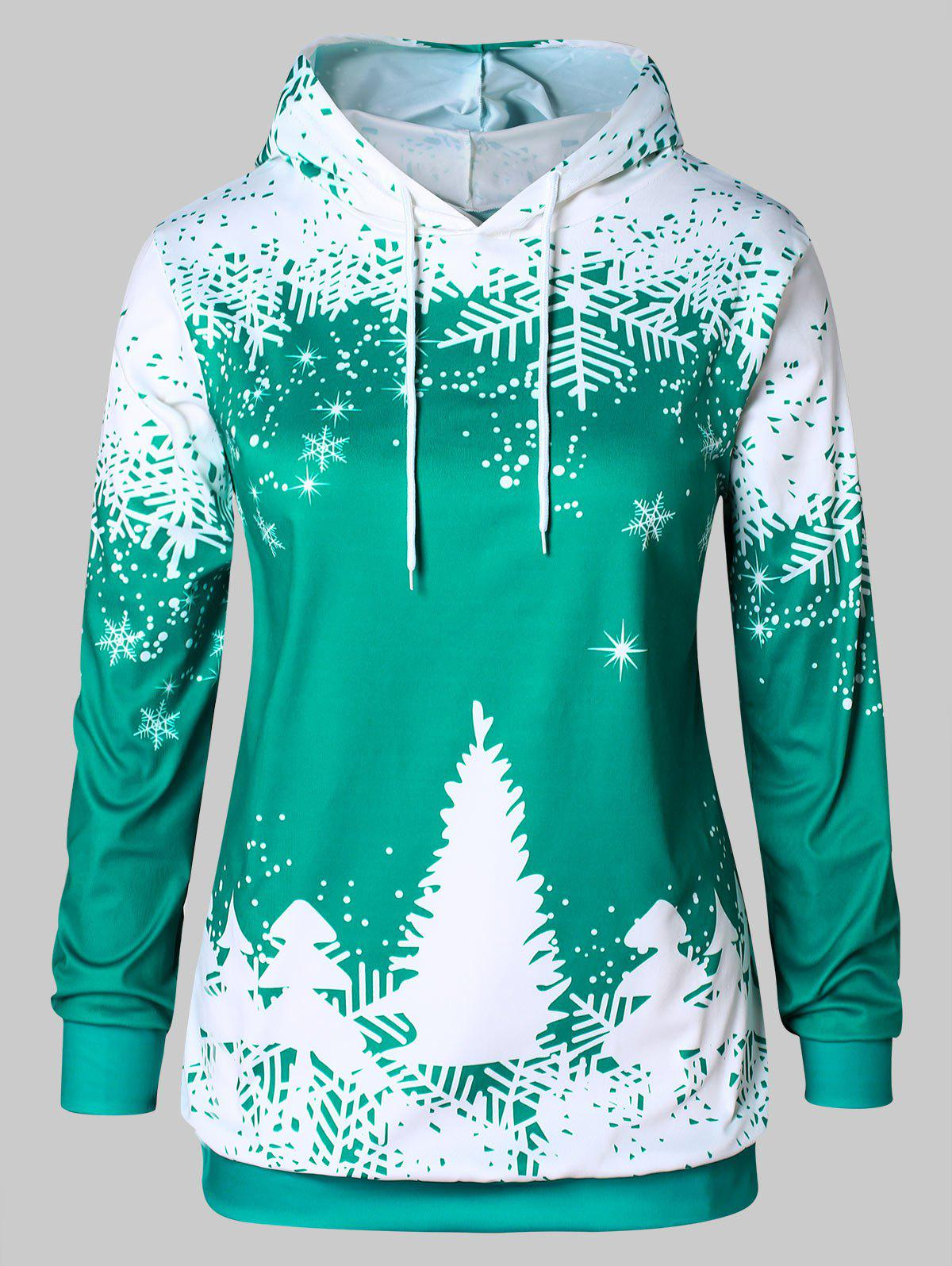 Plus Size Christmas Tree Print Hoodie - MEDIUM TURQUOISE 1X