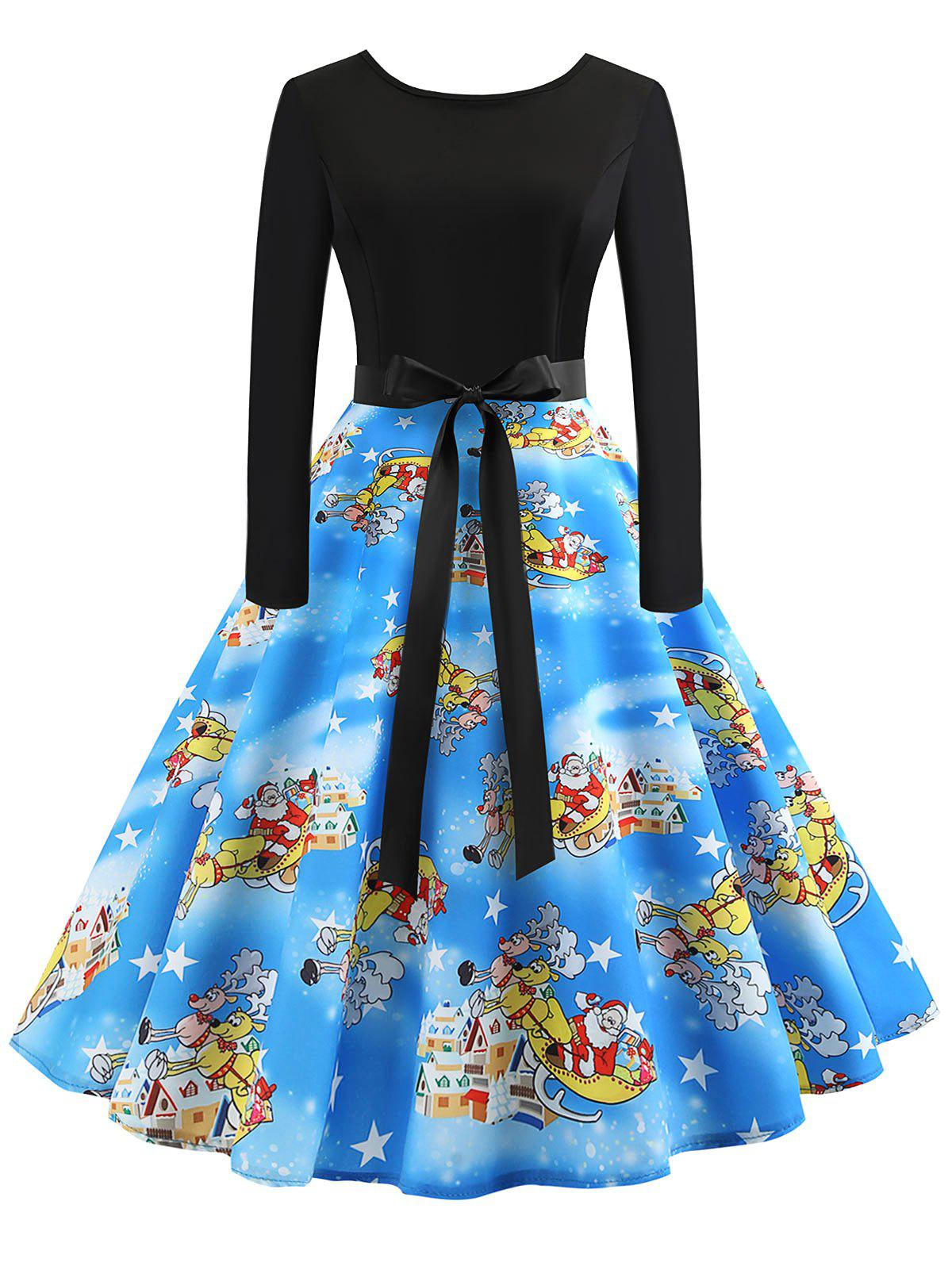 Vintage Printed Flare Dress - multicolor B XL