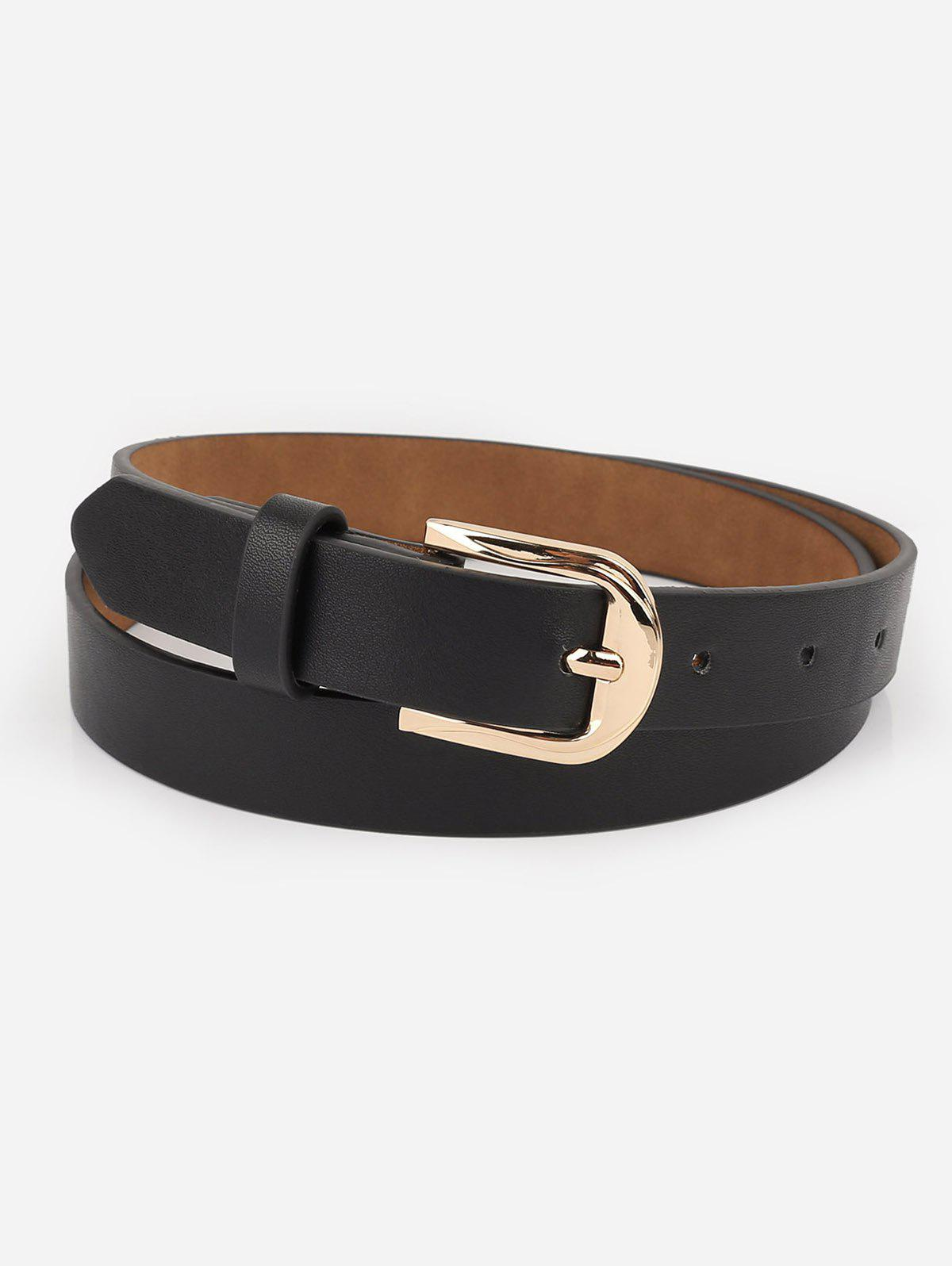 Alloy Buckle Artificial Leather Casual Belt - BLACK