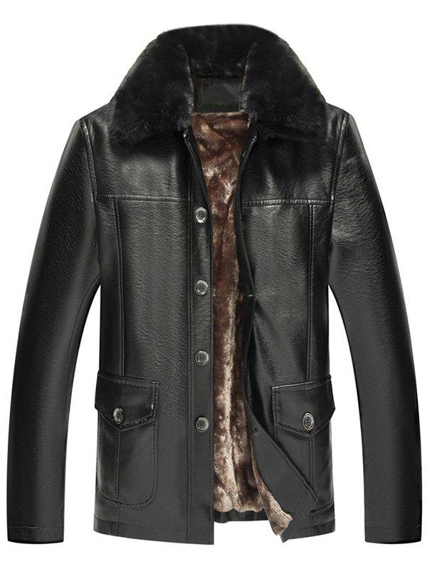 Fur Collar Fleece Button Fly PU Leather Jacket