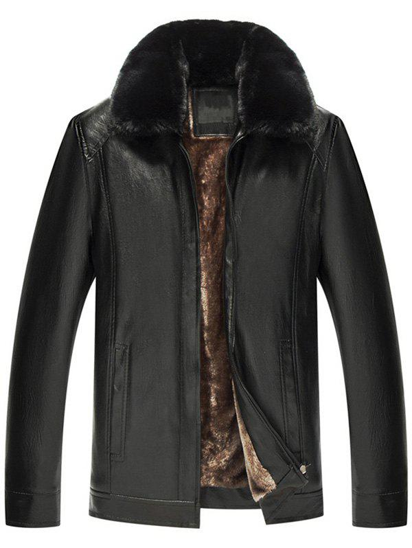 Image of Zip Fly Fur Turn-down Collar PU Leather Jacket