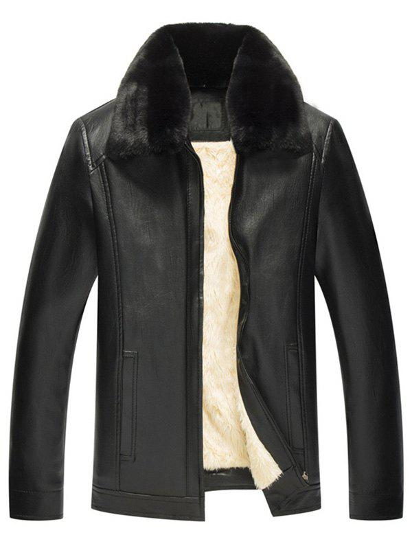 Fur Collar Zipper Warmth PU Leather Jacket