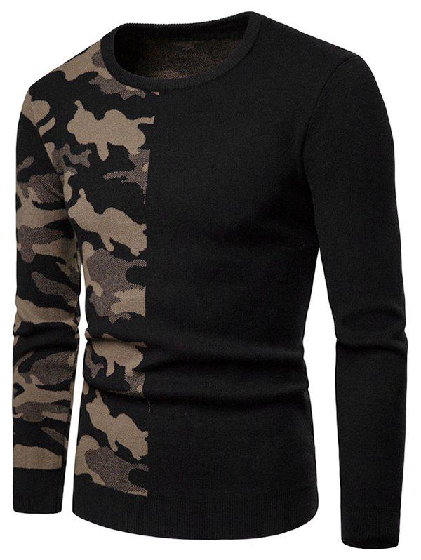Camouflage Pattern Contract Color Pullover Sweater - LIGHT KHAKI XS