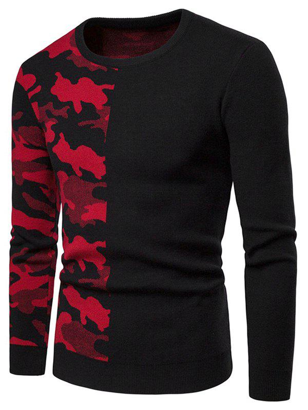 Camouflage Pattern Contract Color Pullover Sweater - RED XS