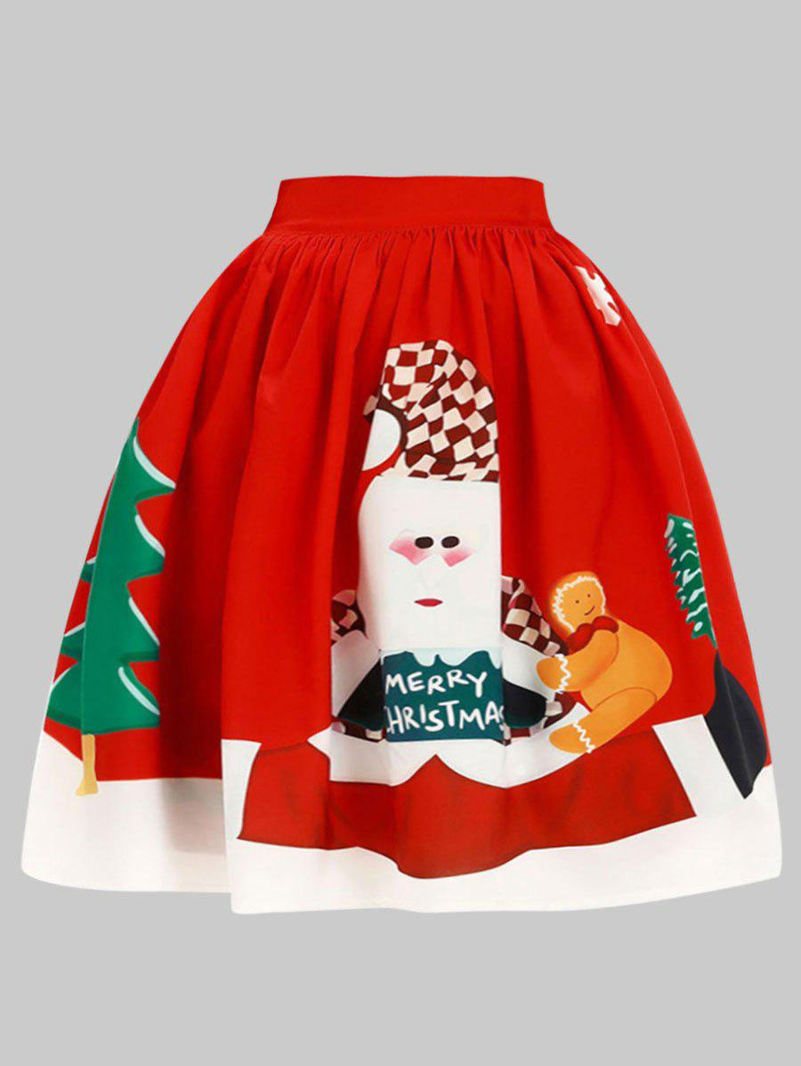 Plus Size Merry Christmas Elk Skirt - RED 1X