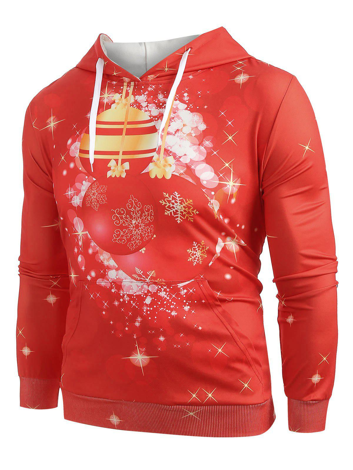 Christmas Ball Print Pullover Hoodie - RED L