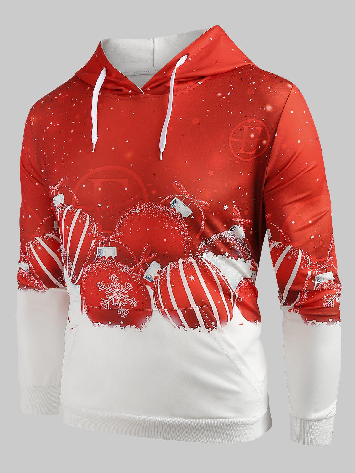 Drawstring Christmas Ball Print Hoodie - RED L