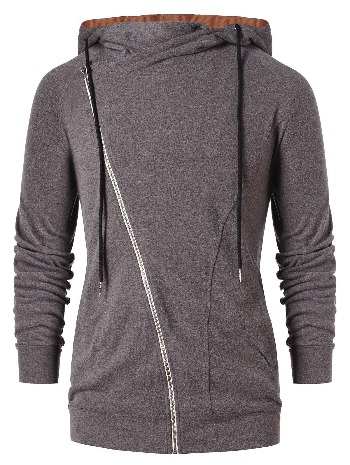 Asymmetric Zip Color Block Hoodie - DARK GRAY L