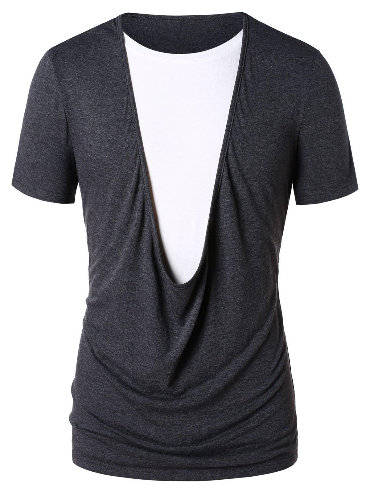Faux Twinset Color Block T-shirt - GRAY 2XL