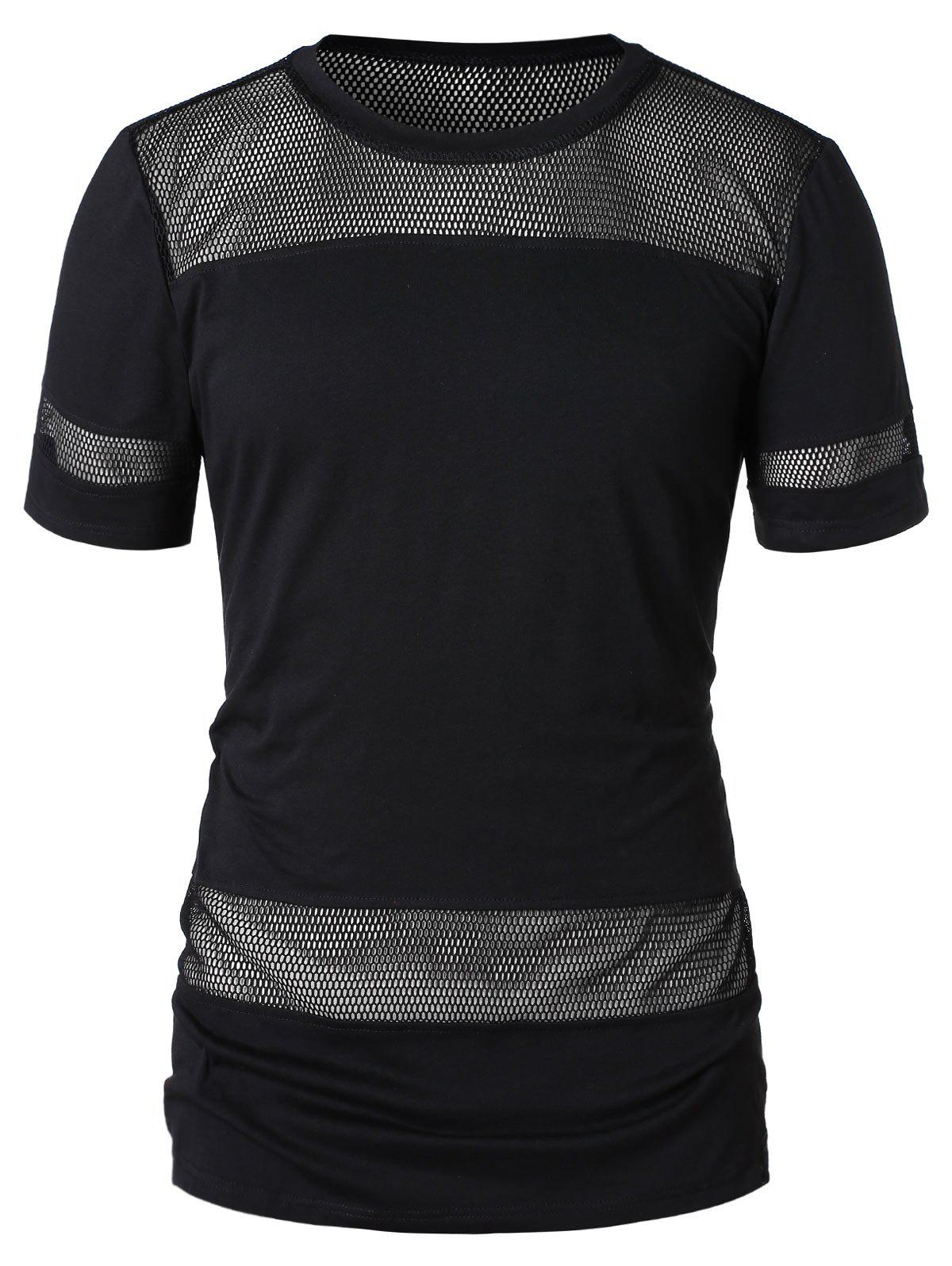 Short Sleeve Mesh Panel T-shirt - BLACK 2XL