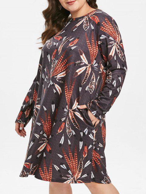 Plus Size Feather Print Dress with Pockets - multicolor 2X