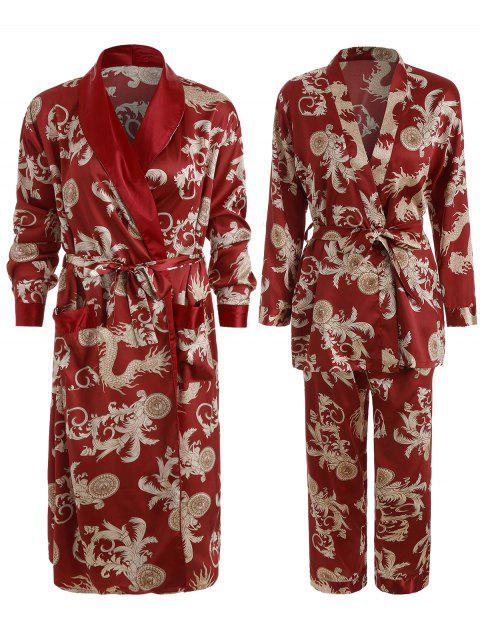 Patterned Matching Couple Pajamas - RED MEN L