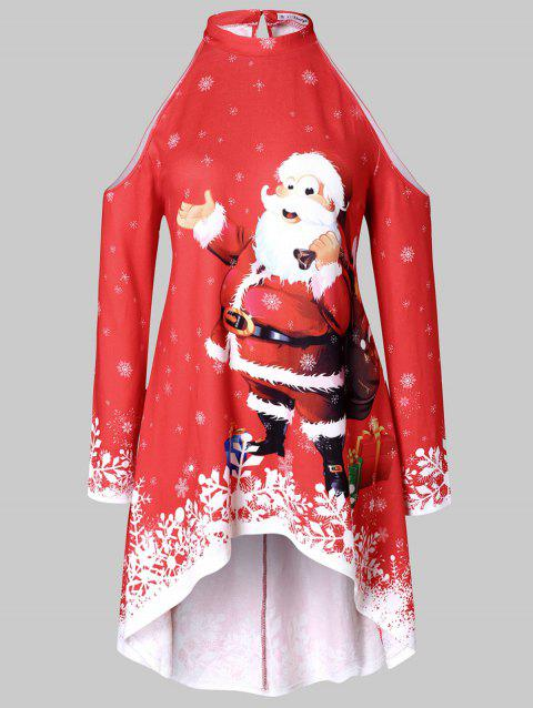 Plus Size Cold Shoulder Santa Claus Print High Low Top - RED 5X