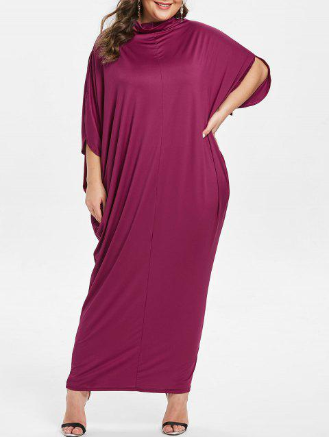 Plus Size Cowl Neck Slit Sleeve Maxi Dress - PURPLE 5X