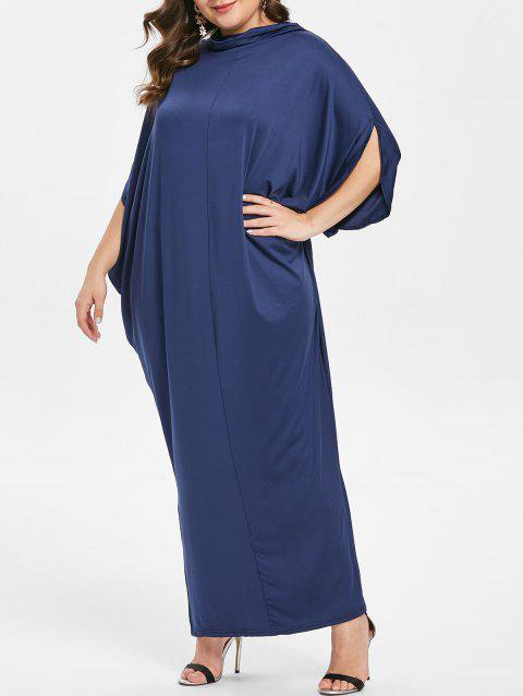 Plus Size Cowl Neck Slit Sleeve Maxi Dress - DEEP BLUE L
