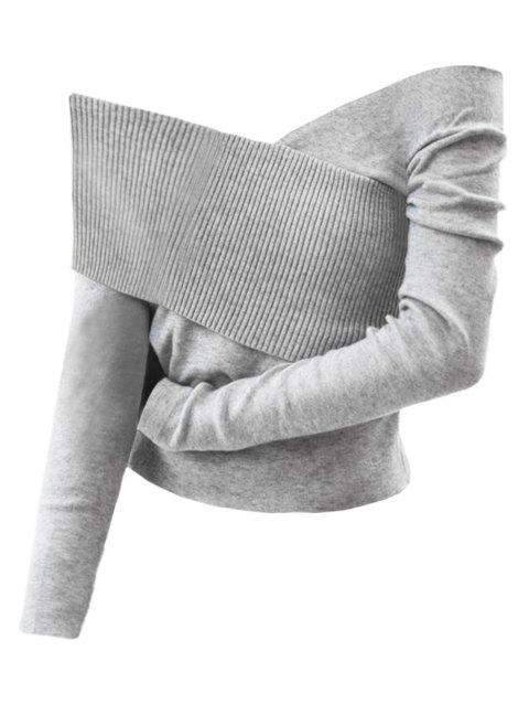 Off The Shoulder Pullover Knitwear - GRAY CLOUD ONE SIZE
