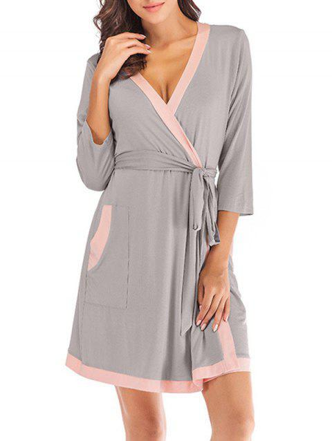 Contrast Belted Pajama Robe - GRAY GOOSE M