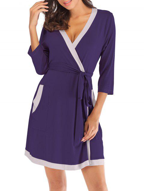 Contrast Belted Pajama Robe - PURPLE AMETHYST XL