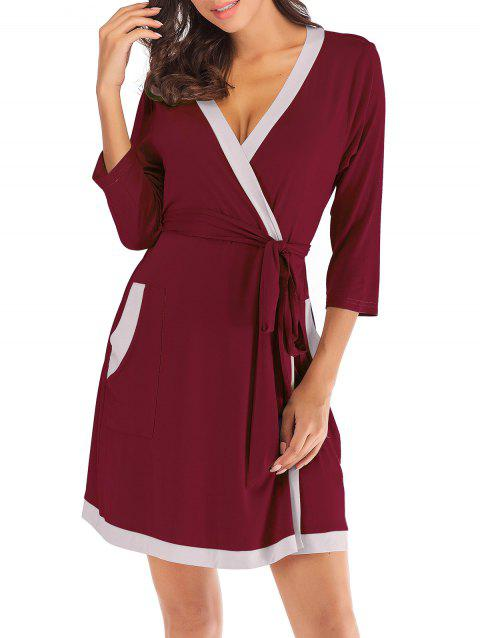 Contrast Belted Pajama Robe - RED WINE L