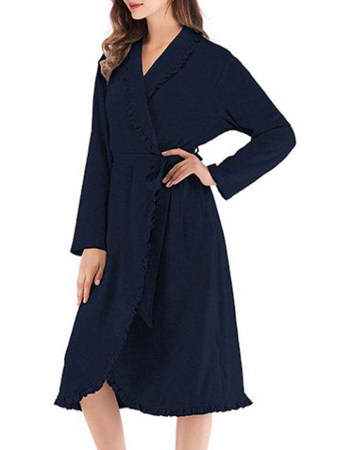Ruffle Edge Pajama Robe - DARK SLATE BLUE XL