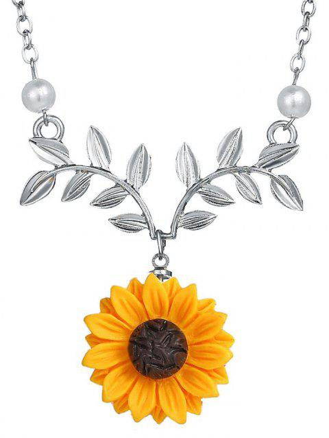 Sunflower and Branch Pattern Necklace - SILVER