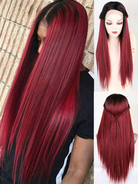 Long Colormix Straight Party Synthetic Lace Front Wig - RED WINE