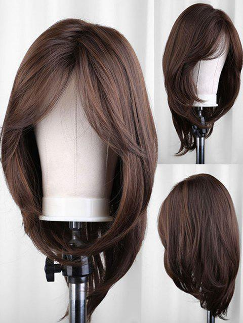 Oblique Bang Long Straight Party Synthetic Wig - TAUPE