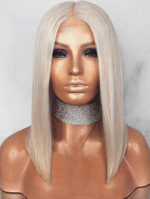 Medium Center Parting Blunt Straight Bob Synthetic Wig - GRAY 16INCH