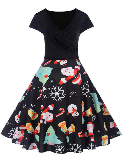 Christmas Print V Neck Fit and Flare Dress - BLACK 2XL