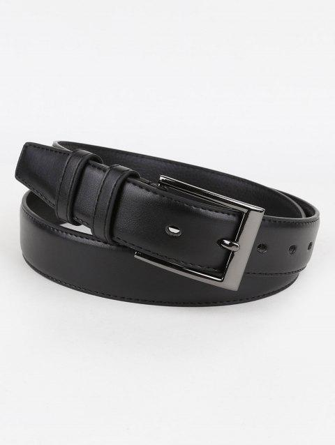Silver Buckle Artificial Leather Waist Belt - BLACK