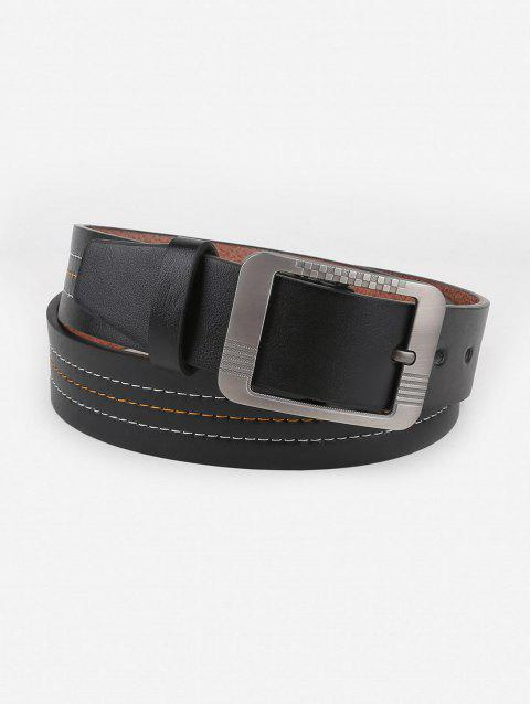 Vintage Line Embroidery Metal Buckle Waist Belt - BLACK