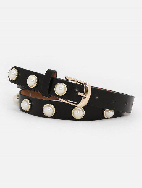 Vintage Metal Buckle Faux Pearl Skinny Belt - BLACK