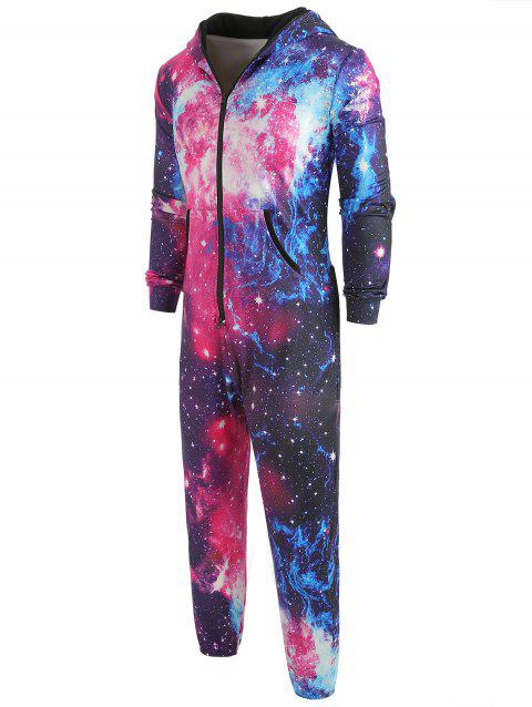 Galaxy Print Long Sleeves Hoodie Jumpsuit - multicolor XL