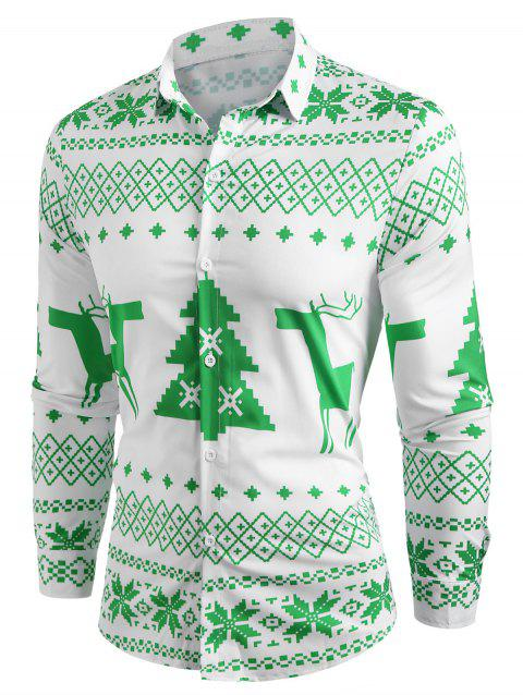 Christmas Geometry Pattern Long Sleeve Shirt - YELLOW GREEN XL