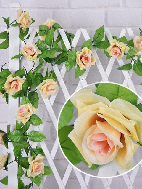 Artificial Rose Flower Garland Ivy Home Wedding Party Decoration - SUN YELLOW